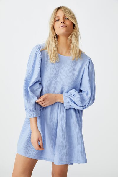 Woven Carly Smock Mini Dress, VINTAGE BLUE
