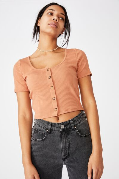 Leni Button Through Short Sleeve Top, SUMMER TAN