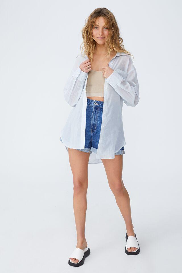Savannah Oversized Shirt, OLIVIA PINSTRIPE SUNFADED DENIM