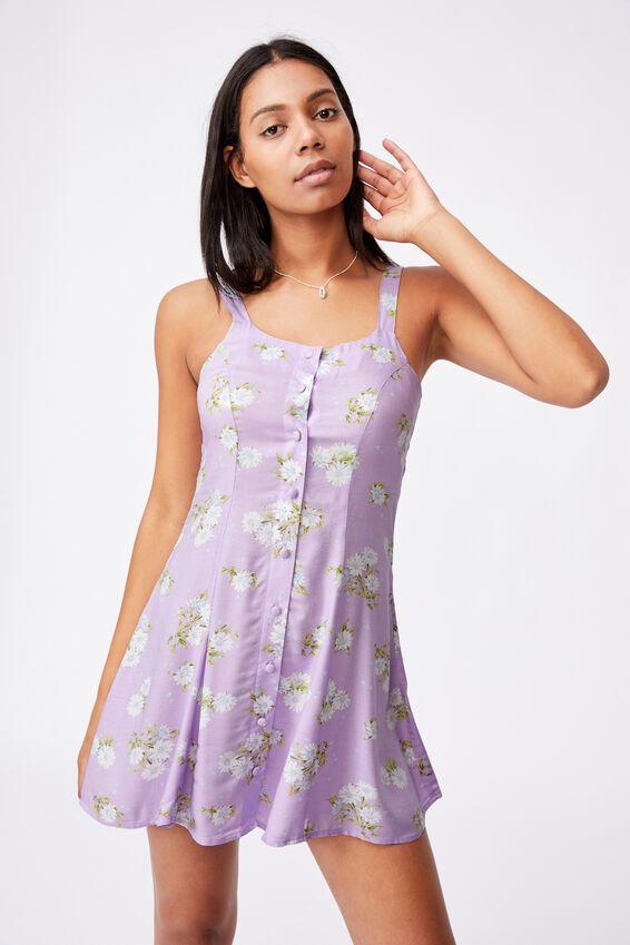 Woven Blair Button Through Strappy Mini Dress Peti, GEORGIA DAISY LILAC BLOSSOM