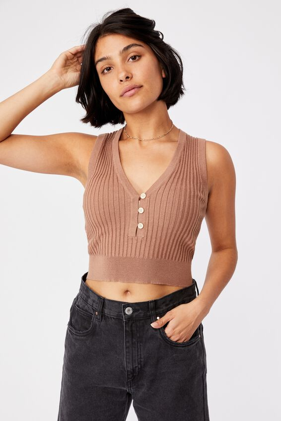 Button Me Up Tank, HERITAGE BROWN