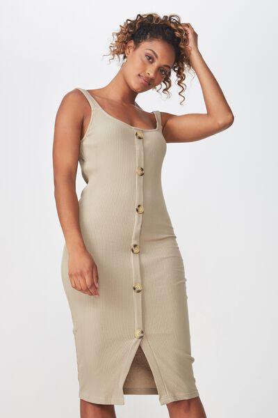 Lola Ribbed Button Through Midi Dress, SILVER SAGE