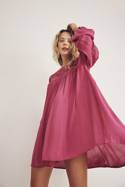 Woven Festival Smock Mini Dress, ROSE WINE