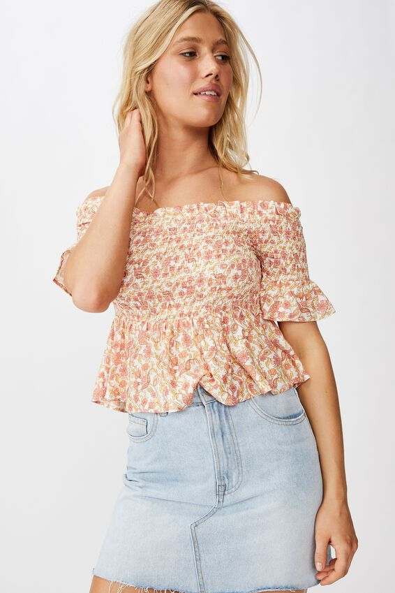 Daisy Off The Shoulder Shirred Peplum, ALANA FLORAL APRICOT ICE