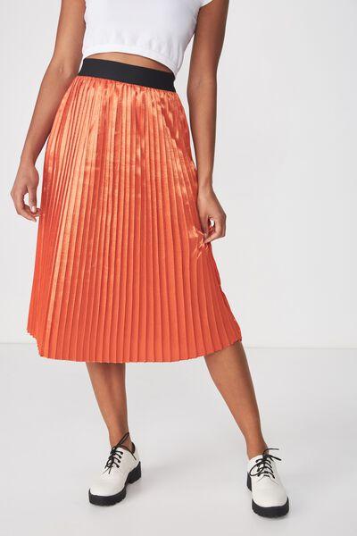Woven Darby Satin Pleated Skirt, BURNT OCHRE