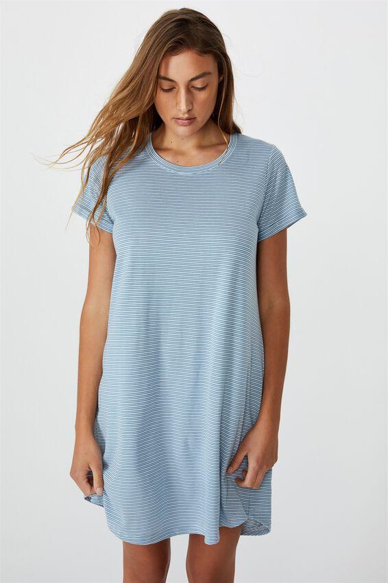 Tina Tshirt Dress 2, MINI MOLLY STRIPE PROVINCIAL BLUE WHITE