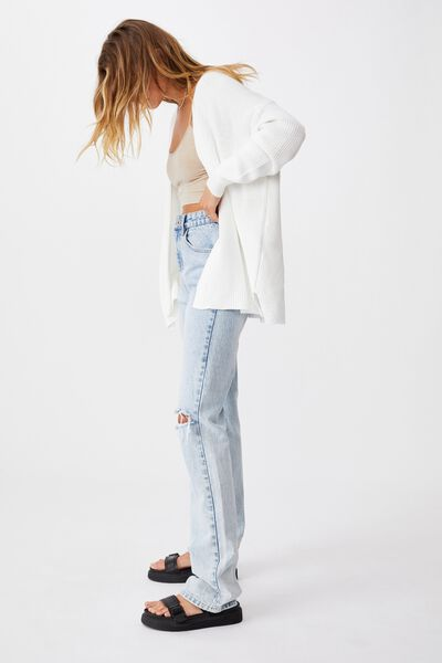 Cotton Boyfriend Cardigan, SNOW WHITE