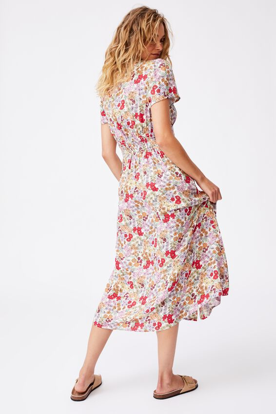 Woven Indi Short Sleeve Vneck Button Through Midi, ELLIE FLORAL MULTI