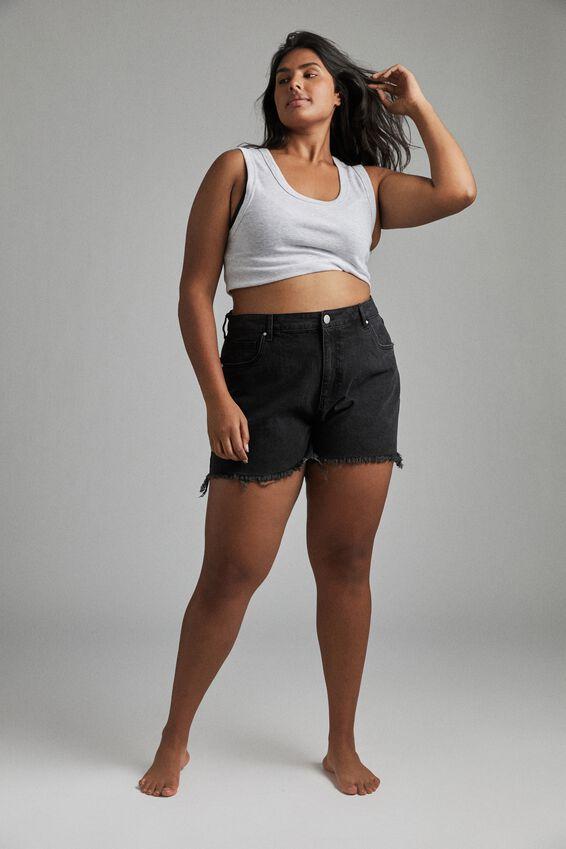 Curve Mom High Waist Denim Short, MIDNIGHT BLACK