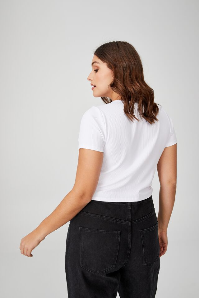 Curve Cut Out Short Sleeve Top, WHITE