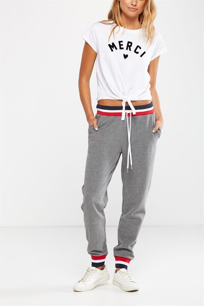 Adele Trackpant, CHARCOAL MARLE/RED WHITE NAVY CUFF