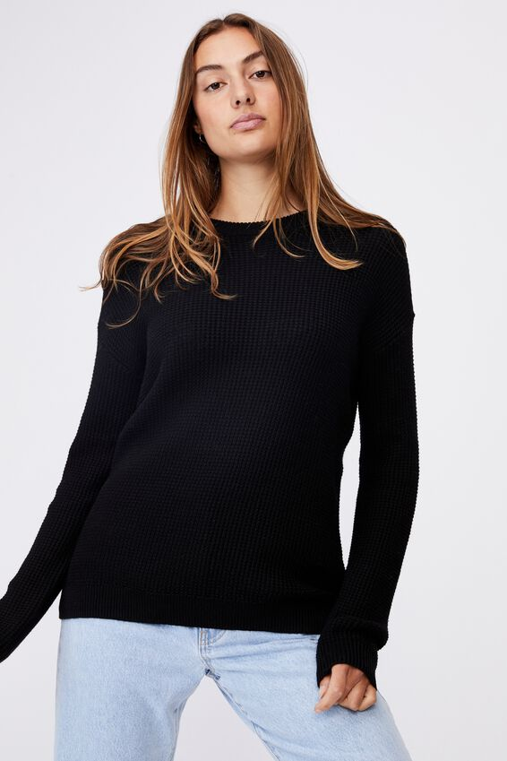Cotton Pullover, BLACK