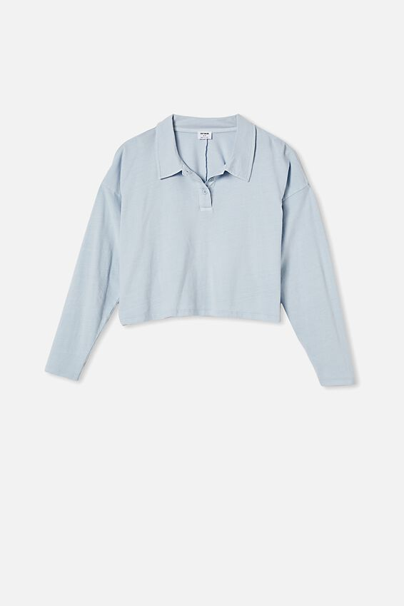 Ryan Long Sleeve Polo, WASHED SILVER BLUE