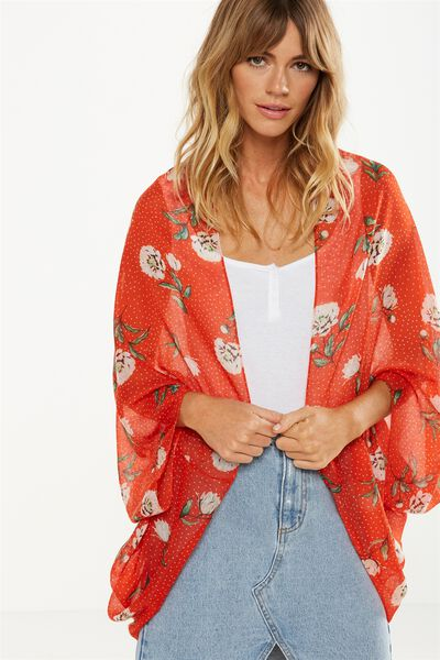 Trixy Cocoon Kimono, DOT FIORE BLOOD ORANGE