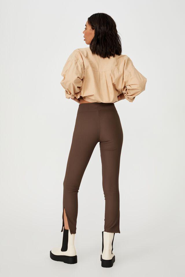 Side Zip Rib Legging, BROWN