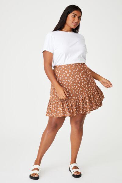 Curve Asymmetric Frill Mini Skirt, RIDDLE DITSY LEAF BROWN