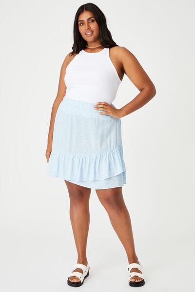 Curve Asymmetric Frill Mini Skirt, RIDDLE DITSY DUSK BLUE