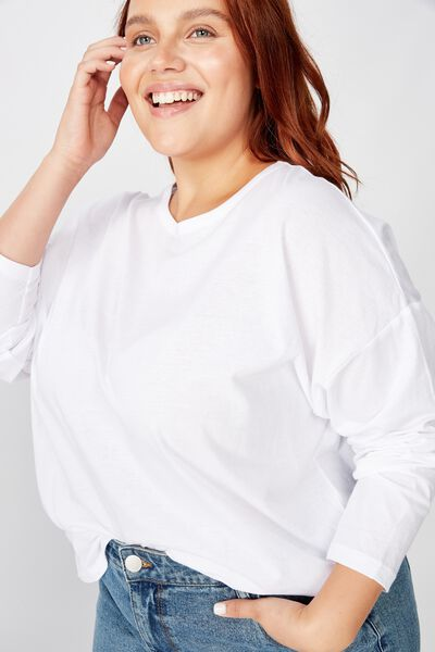 Curve Kyle Oversized Long Sleeve Top, WHITE