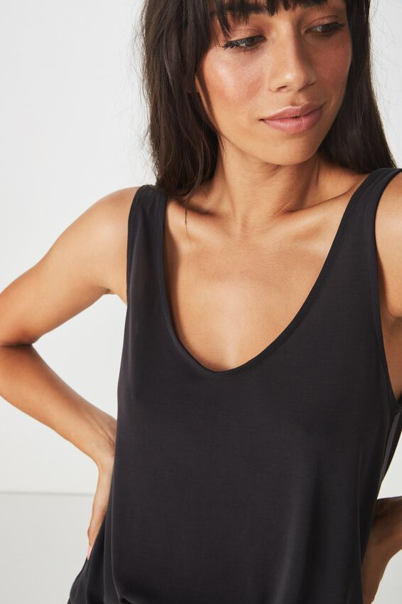 Tia Scooped High Low Tank, BLACK
