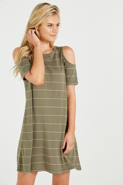 Leo Cold Shoulder Dress, SOOT/WHITE PIP STRIPE