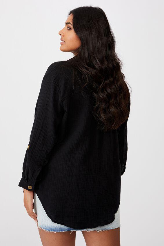 Curve Oversized Beach Shirt, BLACK