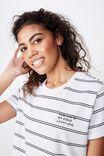 Classic Slogan T Shirt, SARCASM WHITE/BLACK STRIPE