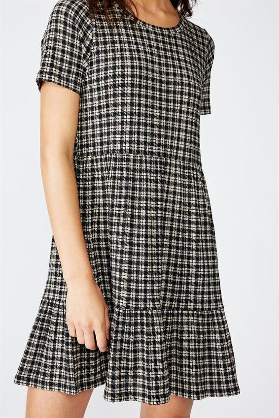 Carissa Short Sleeve Babydoll Mini Dress, ISSY CHECK BLACK LARGE