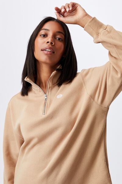 Classic 1/4 Zip Pullover, CARAMEL BROWN/GLOBE CHEST EMBRIODERY