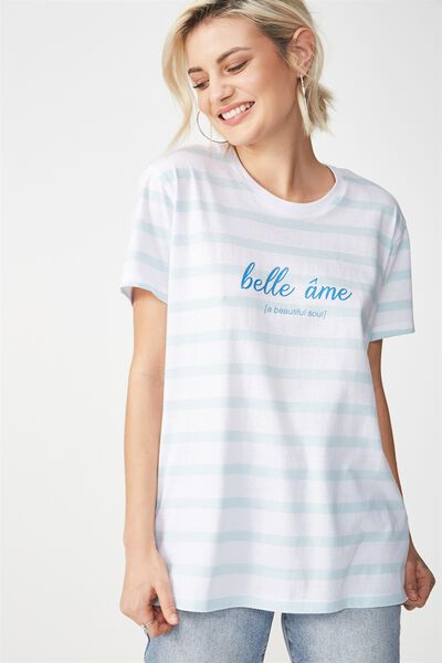 Tbar Fox Graphic T Shirt, BELLE AME OMPHALODES/WHITE STRIPE