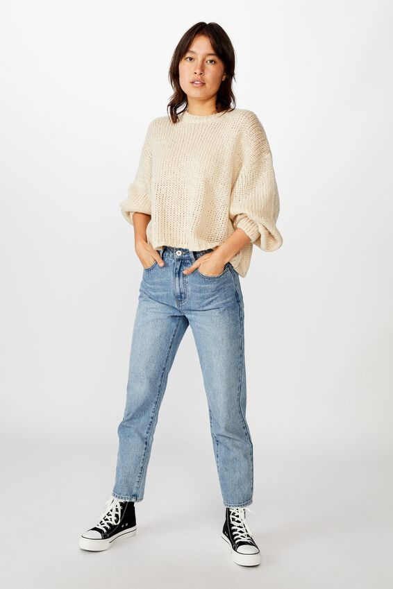Nate Wide Neck Blousson Sleeve Pullover, SOLID TAPIOCA