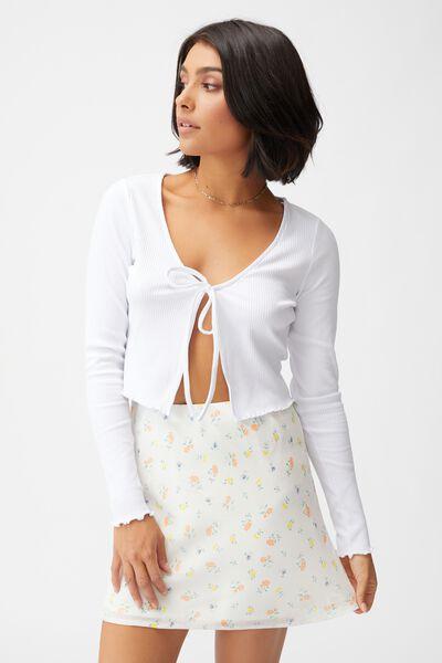 Woven Kaity Slip Mini Skirt, LAURIE DITSY MELON WHITE