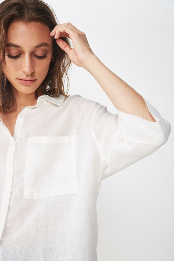Rebecca Chopped Shirt, WHITE TEXTURE