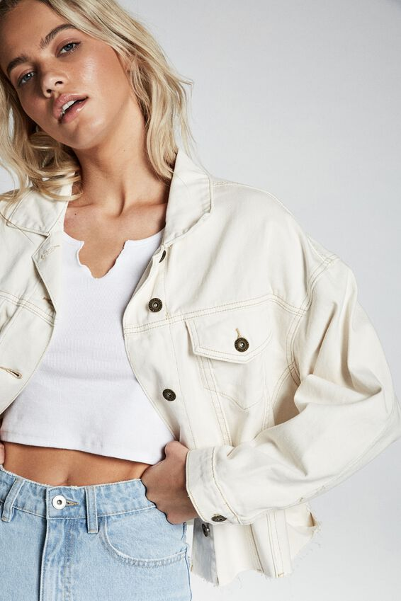 Os Denim Jacket, WHITE ALYSSIUM