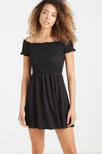 Lindi Off The Shoulder Dress, BLACK
