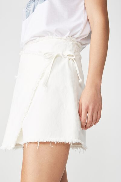 Wrap Denim Mini Skirt, GARDENIA