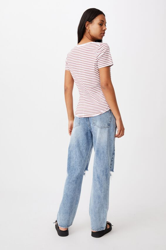 The One Fitted V Tee, EDDY STRIPE WHITE/ RED TERRACOTTA