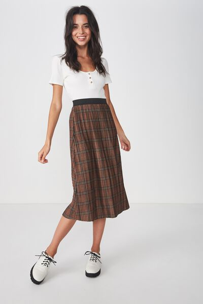 42d1213576 Woven Dolly Check Pleated Midi Skirt