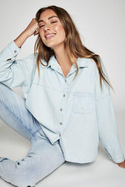 Oversize Drop Shoulder Shirt, WASHED LIGHT BLUE D