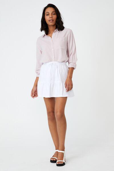 Tori Tiered Mini Jersey Skirt, WHITE