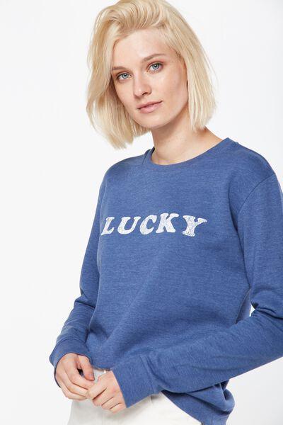 Ferguson Graphic Crew Sweater, LUCKY/INDIGO MARLE