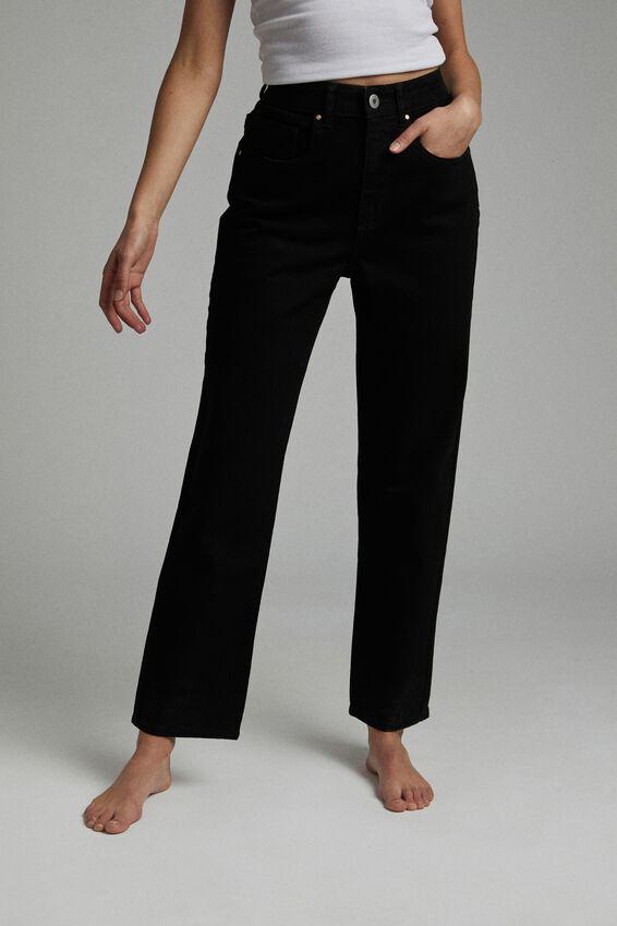 Straight Stretch Jean, BLACK