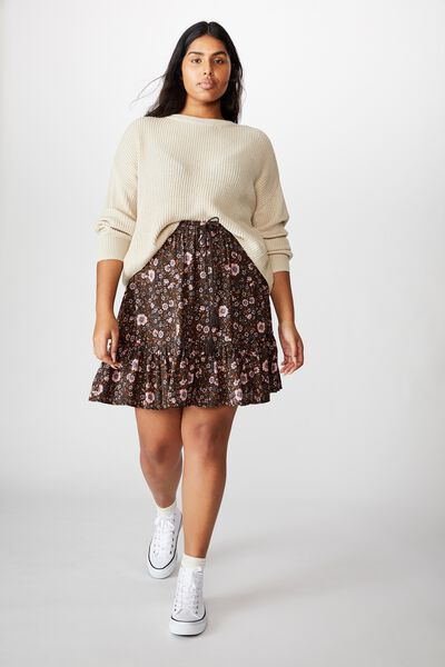 Curve North Tiered Mini Skirt, JORDYN FLORAL RAVEN