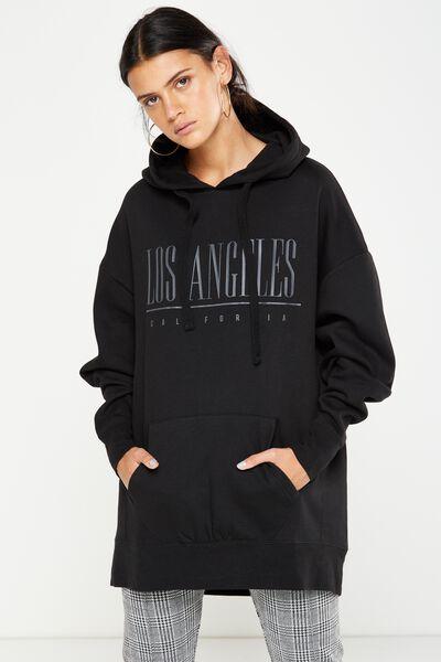 Eliza Longline Hoodie, LOS ANGELES/BLACK