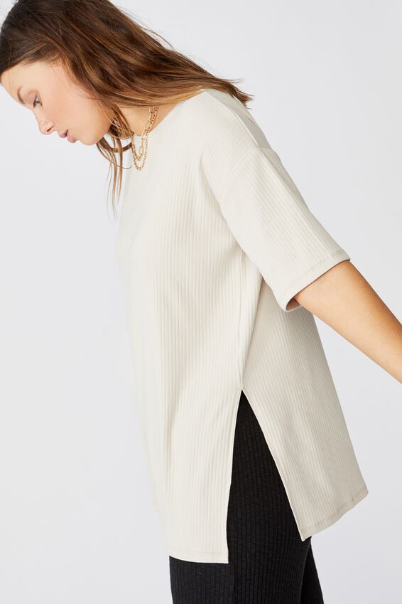 Bella Drop Shoulder Short Sleeve Top, SILVER LINING