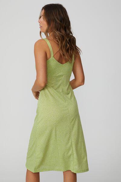 Taylor Strappy Midi Dress, STARBURST DITSY APPLE GREEN