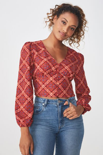 Maddie Button Up Blouse, LILY CROSS CHECK CABERNET