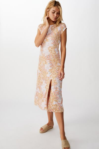 Elsa Short Sleeve Split Front Midi Dress, MANDY MULTI DITSY GARDENIA