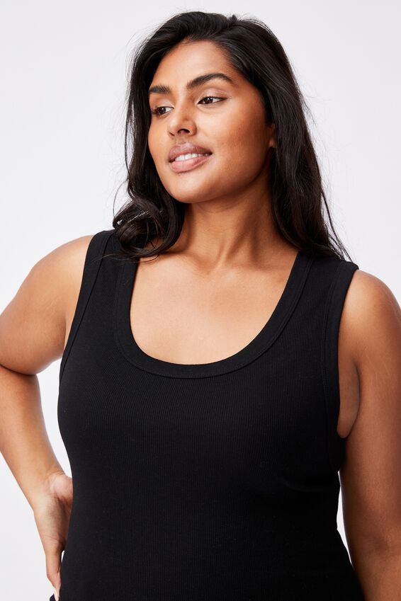 Curve Scoop Tank, BLACK