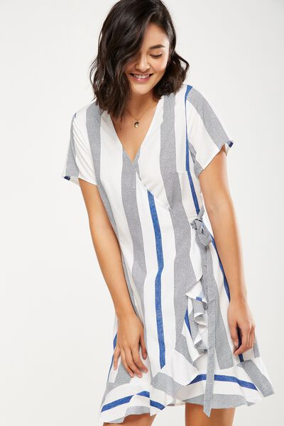 Woven Charli Short Sleeve Wrap Dress, ADELE STRIPE COUNTRY BLUE