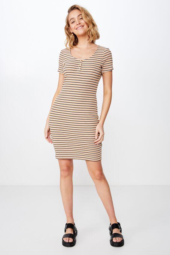 Gabby Short Sleeve Mini Dress, HARNI STRIPE MOONLIGHT MULTI SMALL